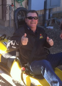 Rushmore Cave Facilities and Grounds Manager, Rick, is ready to ride the Alpine Coaster!